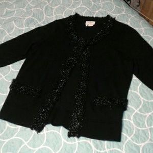 Kate Spade Black Wool Cardigan with Sparkle Medium